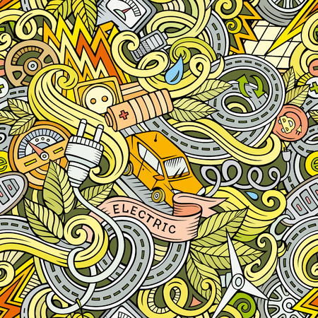 zero emission: Cartoon cute doodles hand drawn Electric vehicle seamless pattern. Colorful detailed, with lots of objects background. Endless funny vector illustration. backdrop with eco cars symbols and items Illustration