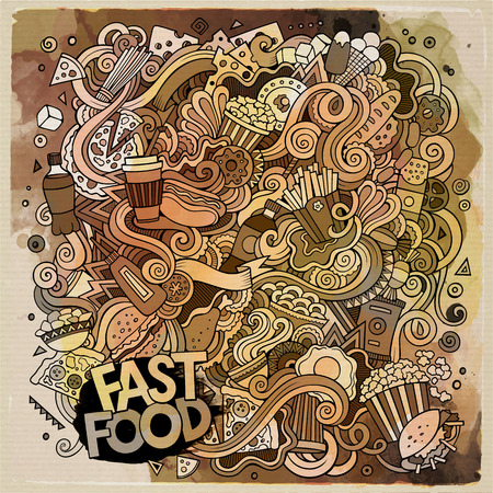 fastfood: Cartoon cute doodles hand drawn Fastfood illustration. Watercolor detailed, with lots of objects background. Funny vector artwork. Line art picture with fast food theme items
