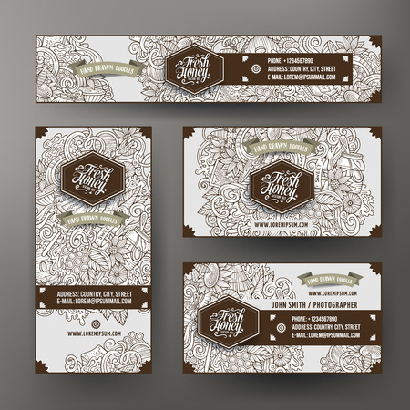 honeyed: Corporate Identity vector templates set design with doodles hand drawn Honey theme. Line art banner, id cards, flayer design. Templates set