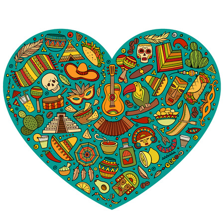 Colorful vector hand drawn set of Latin American cartoon doodle objects, symbols and items. Heart form composition