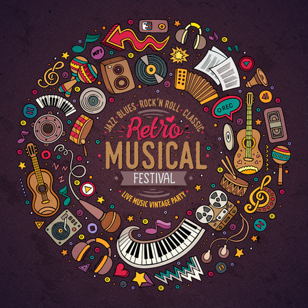 Colorful vector hand drawn set of Musical cartoon doodle objects, symbols and items. Round frame composition