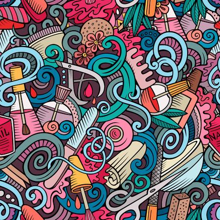 Cartoon griffonnages mignon dessiné à la main manucure pattern. Colorful détaillé, avec beaucoup d'objets de fond. Sans fin drôle illustration vectorielle. Des couleurs vives toile de fond avec des symboles et des objets ongles