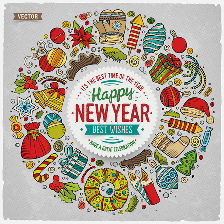 new year border: Colorful vector hand drawn set of New Year cartoon doodle objects, symbols and items. Round frame composition