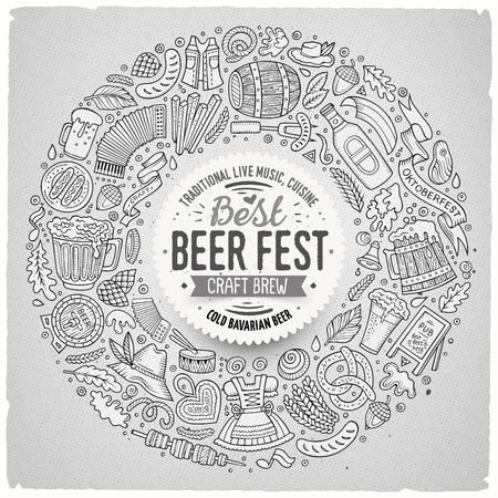 beer fest: Sketchy vector hand drawn set of Beer fest cartoon doodle objects, symbols and items. Round frame composition