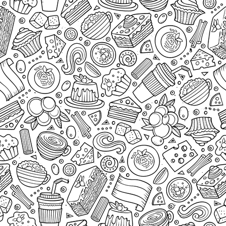 repeat pattern: Cartoon cute hand drawn Italian food seamless pattern. Colorful with lots of objects background. Endless funny vector illustration.