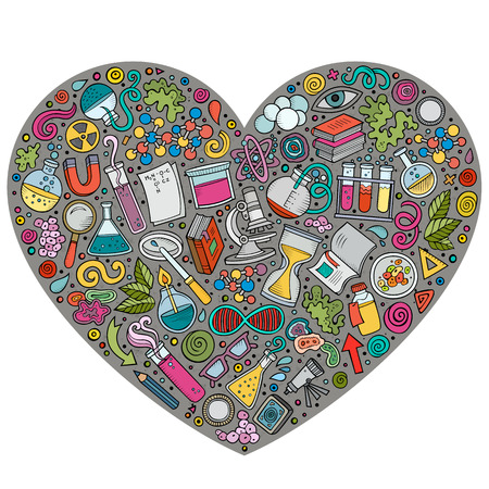 science lab: Colorful vector hand drawn set of Science cartoon doodle objects, symbols and items. Heart form composition