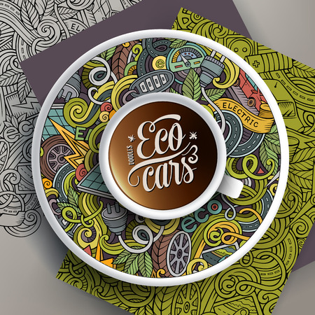 zero emission: Vector illustration with a Cup of coffee and hand drawn Electric cars doodles on a saucer, on paper and on the background Illustration
