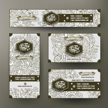Corporate Identity vector sjablonen instellen ontwerp met doodles hand getrokken thee thema. Line-art banner, ID-kaarten, flayer-ontwerp