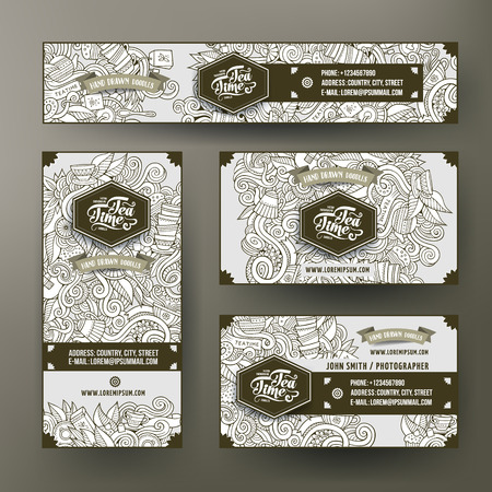 Corporate Identity vector templates set design with doodles hand drawn tea theme. Line art banner, id cards, flayer design Фото со стока - 64940070