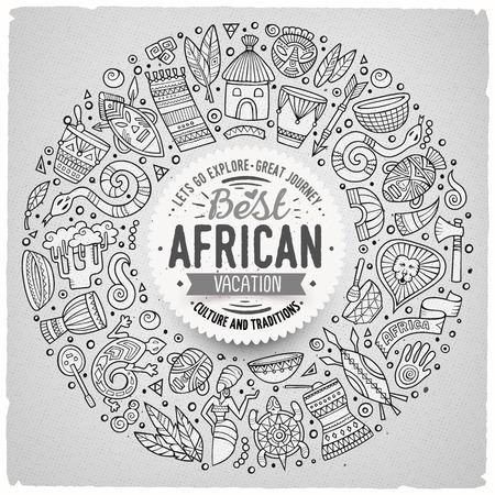 Contorno de vector dibujado a mano conjunto de África objetos bosquejo de dibujos animados, símbolos y elementos. Composición del marco de la Ronda Ilustración de vector