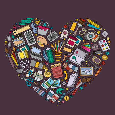 composition art: Colorful vector hand drawn set of Art and Design cartoon doodle objects, symbols and items. Heart form composition
