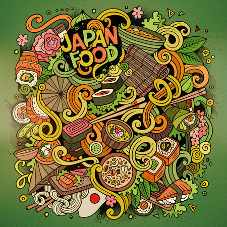 abstract illustration: Cartoon cute doodles hand drawn Japan food illustration. Colorful detailed, with lots of objects background. Funny vector artwork. Bright picture with japanese cuisine theme items. Square composition