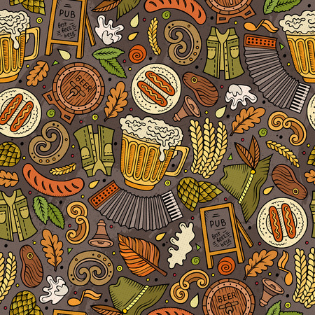 beer fest: Cartoon cute hand drawn Beer fest seamless pattern. Colorful with lots of objects background. Endless funny vector illustration