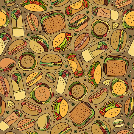 fastfood: Hoạt hình dễ thương vẽ tay nhanh mô hình liền mạch thực phẩm. Đầy màu sắc với rất nhiều nền đối tượng. Endless vui vector minh họa. Bright màu nền với các biểu tượng và các mặt hàng thức ăn nhanh