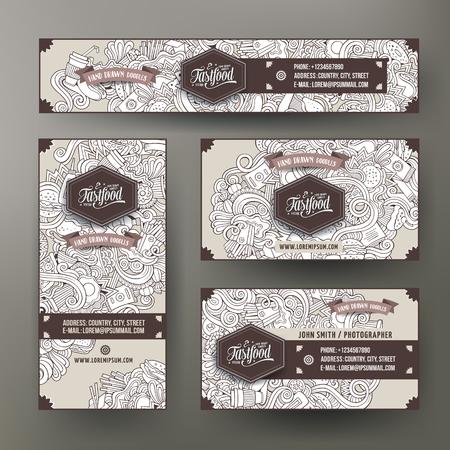 plantillas de identidad corporativa de vector conjunto de diseños con el tema de la comida rápida garabatos dibujados a mano. Línea arte bandera, tarjetas de identificación, diseño flayer. Establecimiento de plantillas