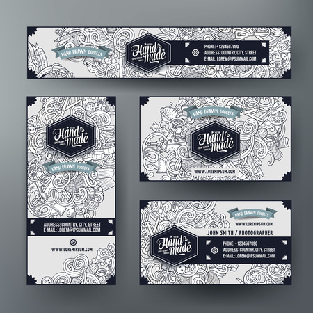 Corporate Identity vector templates set design with doodles hand drawn hand made theme. Line art banner, id cards, flayer design. Templates set
