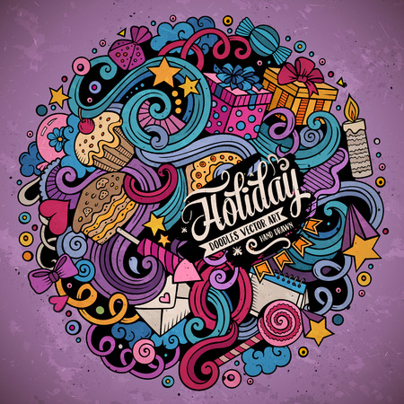 Cartoon hand-drawn doodles holidays illustration. Colorful detailed, with lots of objects vector design background Illustration