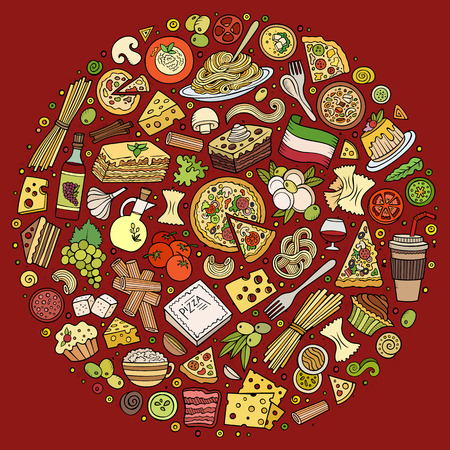 Colorful vector hand drawn set of Italian food cartoon doodle objects, symbols and items. Round composition