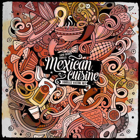 Cartoon cute doodles hand drawn Mexican food illustration. Line art detailed, with lots of objects background. Funny vector artwork. Watercolor picture with Mexico cuisine theme items Vector Illustration