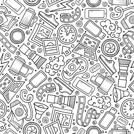 Dibujos animados lindo dibujado a mano Foto sin patrón. Línea arte detallado, con gran cantidad de objetos de fondo. Ilustración vectorial divertido sin fin.