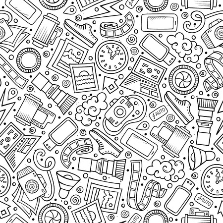 Cartoon cute hand drawn Photo seamless pattern. Line art detailed, with lots of objects background. Endless funny vector illustration.
