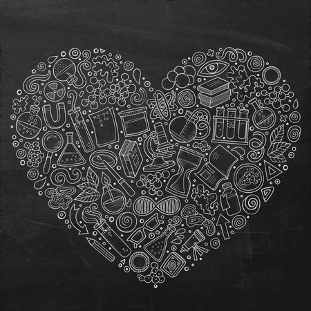 science symbols: Chalkboard vector hand drawn set of Science cartoon doodle objects, symbols and items. Heart form composition