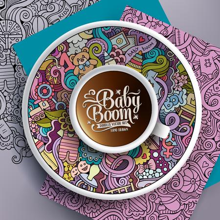 taza de té: Ilustración del vector con una taza de café y garabatos dibujados a mano del bebé en un platillo, en el papel y en el fondo