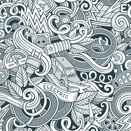 electric line: Cartoon cute doodles hand drawn Electric vehicle seamless pattern. Line art detailed, with lots of objects background. Endless funny vector illustration. Contour backdrop with eco cars symbols and items Illustration