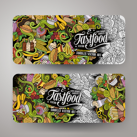 Vector hand getekende doodles voedsel banners ontwerp sjablonen set