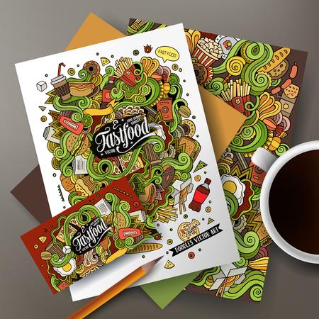 comida rapida: garabatos dibujados de la historieta linda del arte del vector de línea de mano comida rápida conjunto de identidad corporativa. Plantillas de diseño de tarjetas de visita, folletos, carteles, papeles sobre la mesa. Vectores