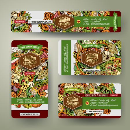 italian food: Corporate Identity vector templates set design with doodles hand drawn Italian food theme. Colorful banner, id cards, flayer design. Templates set Illustration