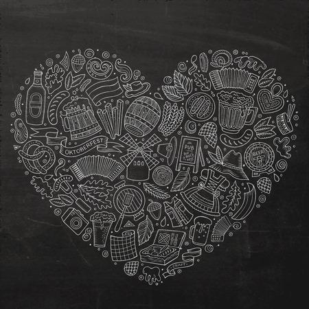 Insieme disegnato a mano di vettore della lavagna degli oggetti, dei simboli e degli oggetti di scarabocchio del fumetto di Oktoberfest. Composizione forma cuore