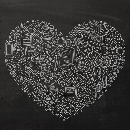 a cartoon film: Chalkboard vector hand drawn set of Photo studio cartoon doodle objects, symbols and items. Heart form composition Illustration