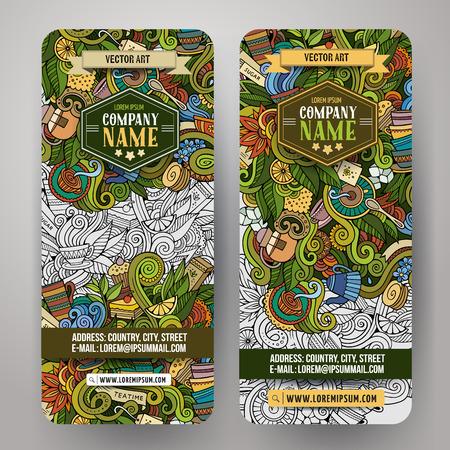 ceylon: Cartoon cute colorful vector hand drawn doodles tea corporate identity. 2 vertical banners design. Templates set