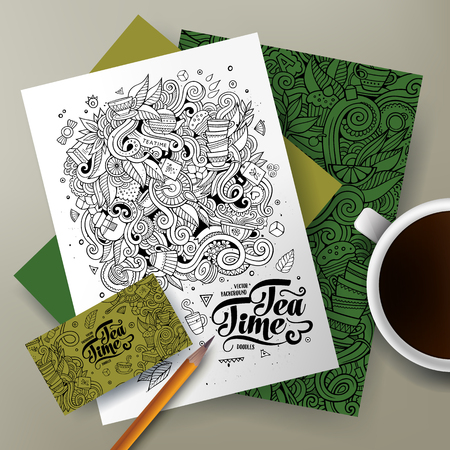 teatime: Cartoon cute line art vector hand drawn doodles Tea corporate identity set. Templates design of business card, flyers, posters, papers on the table