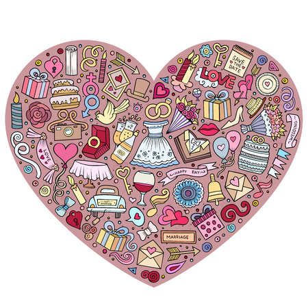 Colorful vector hand drawn set of Wedding cartoon doodle objects, symbols and items. Heart form composition