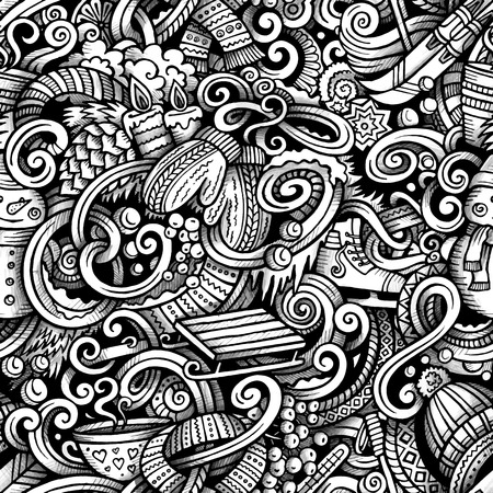 Cartoon trace doodles Winter season seamless pattern. Graphics detailed, with lots of objects background. Endless vector illustration