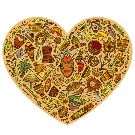 Colorful vector hand drawn set of Africa cartoon doodle objects, symbols and items. Heart form composition