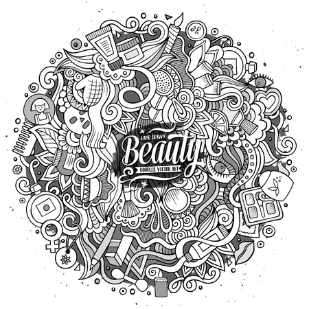 hair brush: Cartoon cute doodles hand drawn cosmetics frame design. Line art detailed, with lots of objects background. Funny vector illustration. Sketchy illustration with beauty theme items
