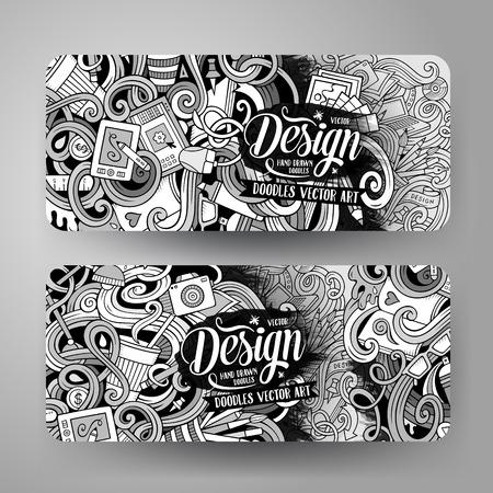 designer: Cartoon vector hand drawn doodles design artistic corporate identity. 2 horizontal banners design. Templates set