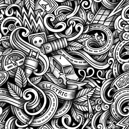 zero emission: Cartoon trace doodles Electric cars season seamless pattern. Graphics detailed, with lots of objects background. Endless vector illustration