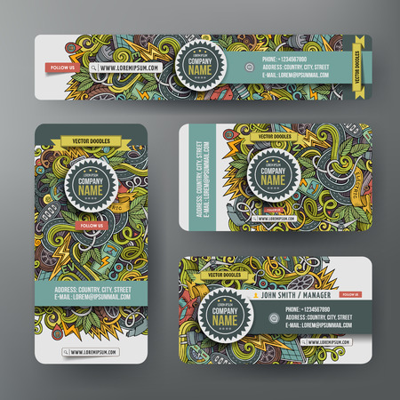 zero emission: Corporate Identity vector templates set design with doodles hand drawn electric cars theme. Colorful banner, id cards, flayer design. Templates set