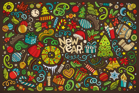 Colorful vector hand drawn doodle cartoon set of New Year and Christmas objects and symbols