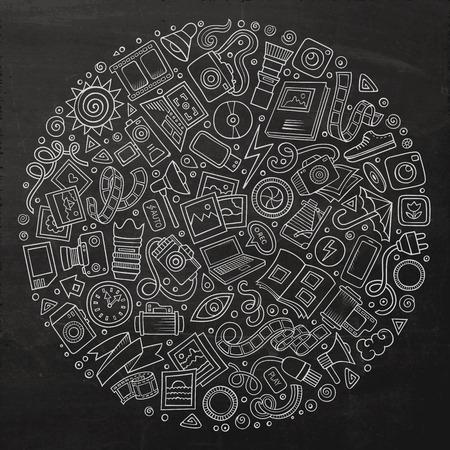 黒板ベクトル手写真スタジオ漫画落書きオブジェクト、シンボルと項目の描画セットです。ラウンド構成