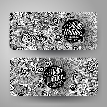 cartoon: Cartoon cute line artvector hand drawn doodles winter season corporate identity. 2 horizontal banners design. Templates set