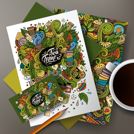 tea cup: Cartoon cute colorful vector hand drawn doodles Tea corporate identity set. Templates design of business card, flyers, posters, papers on the table