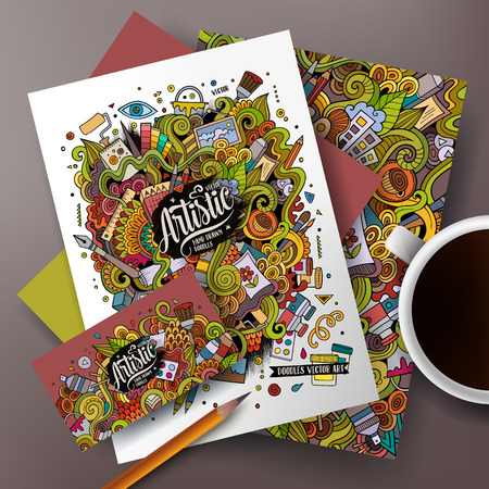 Cartoon cute colorful vector hand drawn doodles artistic corporate identity set. Templates design of business card, flyers, posters, papers on the table.