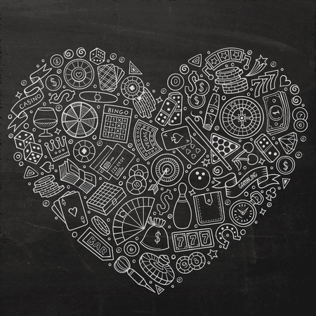 Chalkboard vector hand drawn set of Casino cartoon doodle objects, symbols and items. Heart form composition
