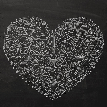 Chalkboard vector hand drawn set of Latin American cartoon doodle objects, symbols and items. Heart form composition