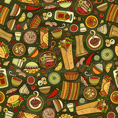 latinoamerica: Cartoon cute hand drawn Mexican food seamless pattern. Colorful detailed, with lots of objects background. Endless funny vector illustration. Illustration